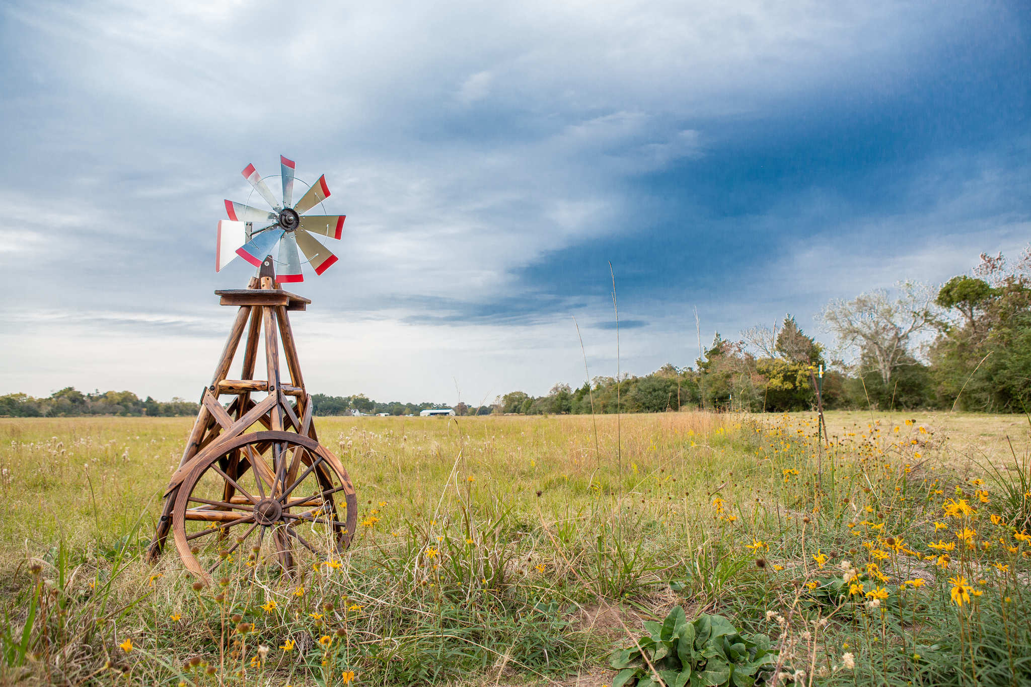 Charlog Windmill in countryside field