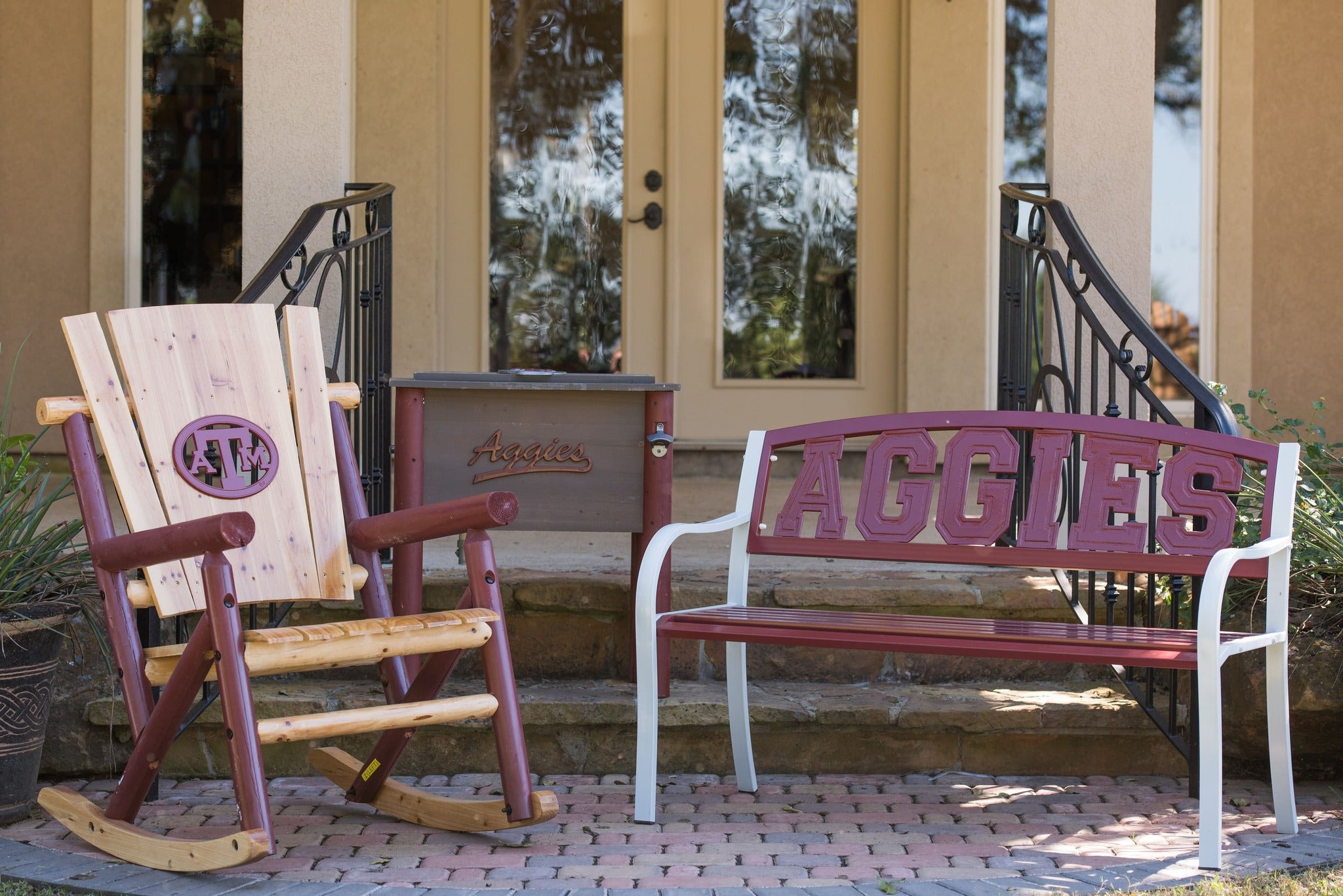 Collegiate Licensed Rocking Chair, Country Cooler and Metal Bench