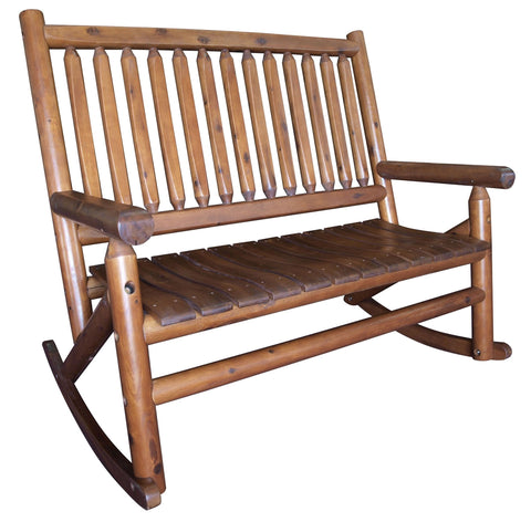 Amber-Log Double Porch Rocker - Porch Rocker