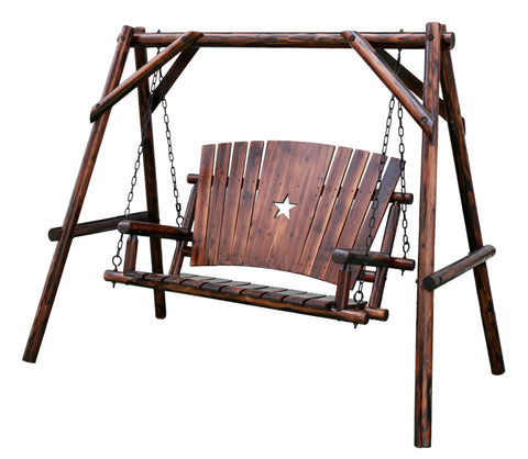 Char-Log 4 ft. Porch Swing with Frame - Porch Swing