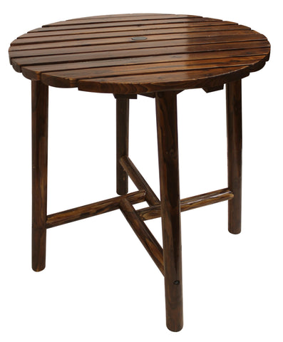 Char-Log Slatted Round Bar Table - Table