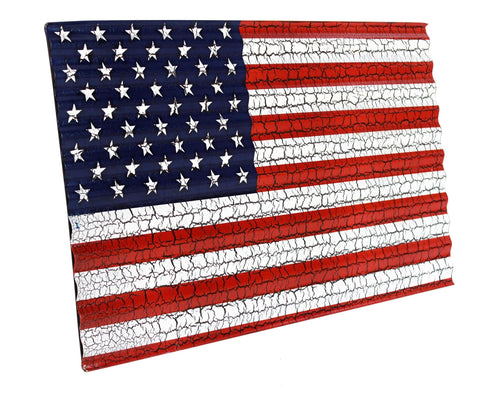 Corrugated Metal United States Flag with Crackle Finish - Decor