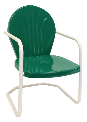 Dark Green Retro Metal Chair - Chair