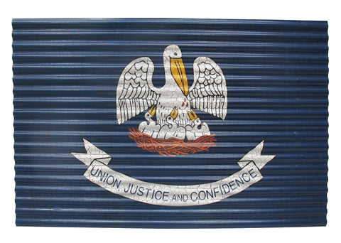 Louisiana Corrugated Metal State Flag - Decor