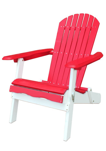 Red and White Folding Adirondack Chair - Adirondack Chair