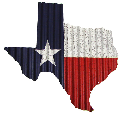 Texas Flag Map Corrugated Metal Art - Small - Decor