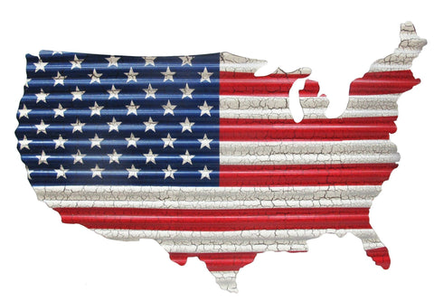 USA Flag Map Corrugated Metal Art - Small - Decor