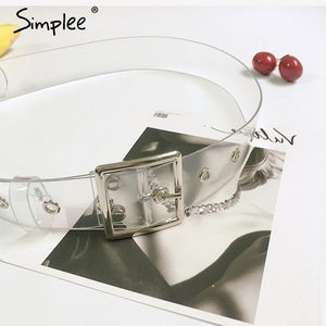 Simplee Fashion transparent pvc women belt Gold eyelet buckle strap white waist belt 2018 New casual waistband accessories lady