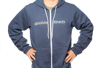 A navy heather hoodie with ABX logo