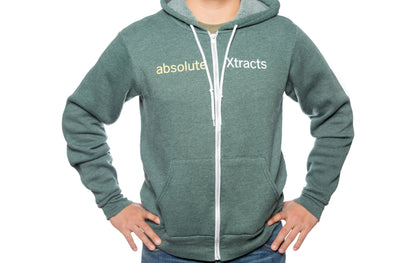A forest heather hoodie with ABX logo