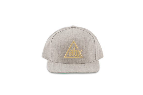 Cream ABX logo on Heather Grey Snapback ball cap