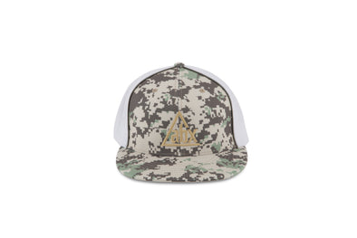 Cream ABX logo on Digital Camo Flexfit ball cap