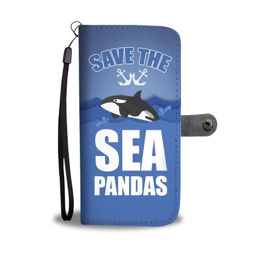 Panda Whales Wallet Phone Case with RFID Blocker
