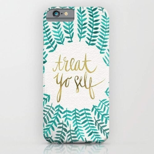Treat Yo Self – Gold & Turquoise Mobile Cover-Mint Noir