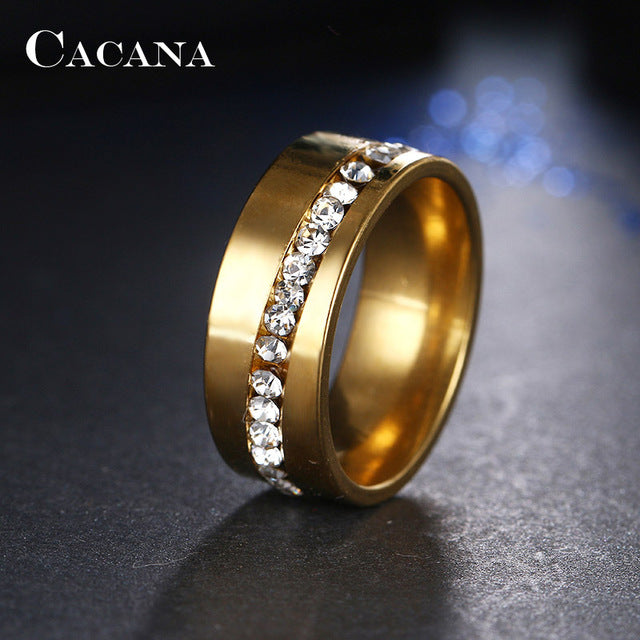 luxury color plated zircon for steel gold women rings titanium engagement item wedding pcs crystal stainless set
