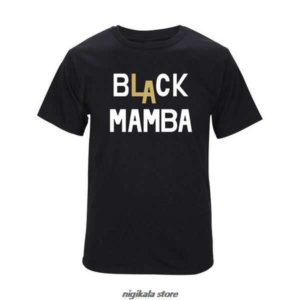 Kobe Bryant Black Mamba T-shirt Summer Cotton Short-sleeved O-neck T Shirt Loose Tops Men Fashion Tee Black White Gray Tops