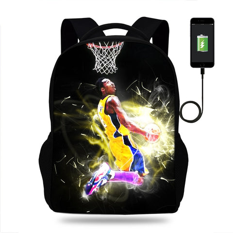 Kobe Bryant Print USB Port backpack