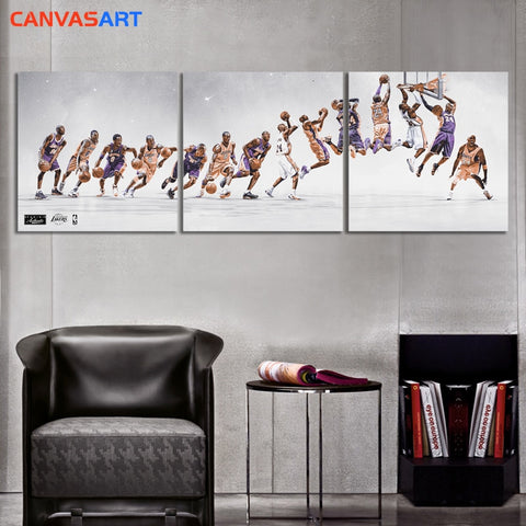 Canvas Art Nordic Style 3 HD Parts Pictures Kobe Bryant  Road To Growth Wall Art Canvas Poster for Living Room Home Decor