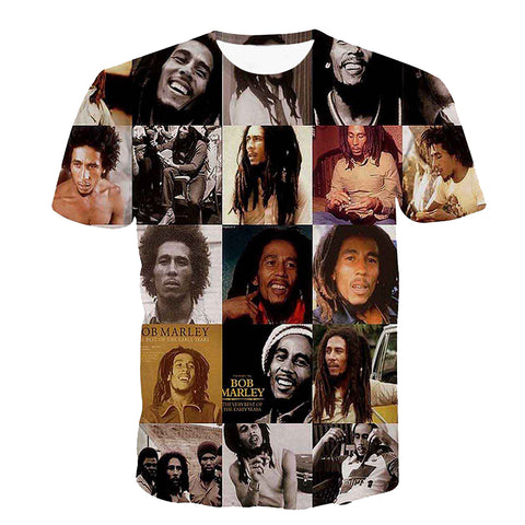 Alisister cotton o-neck women/men's T shirts Reggae Bob Marley 3D printing men T-shirts casual men t shirt hip hop summer tops