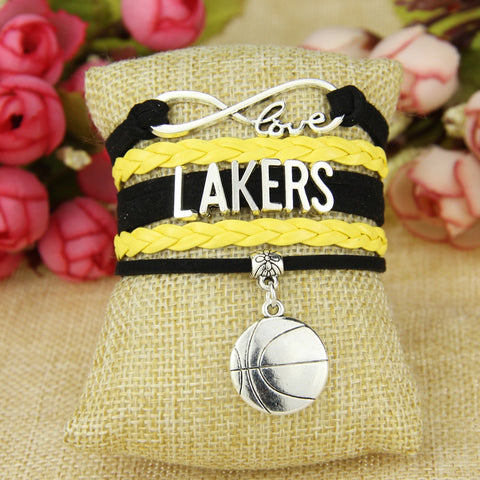 Infinity Love Lakers Football Team Bracelet Yellow Black Sports Dropshipping