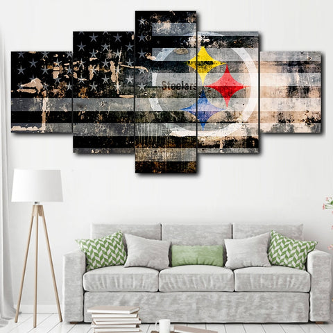 HD Print 5 Piece Canvas Art Pittsburgh Steelers Sport Logo Modular Painting NFL Poster home decor canvas painting calligraph