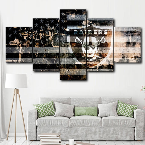 Oakland Raiders - Shield and flag 5 panel canvas painting
