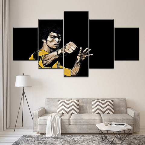 Bruce Lee 5 Panel Poster Wall Art Painting Pictures