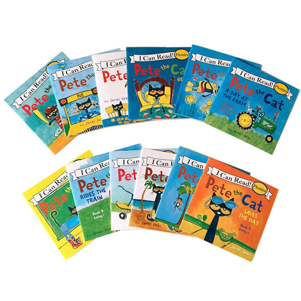 12 Book/Set I Can Read The Pete Cat English Books