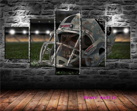 Oakland Raiders - Skull In Helmet 5 Panel Canvas Painting
