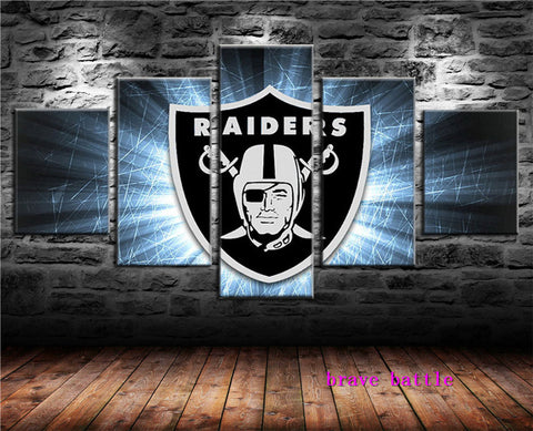 Oakland Raiders - Shield 5 Panel Canvas Painting