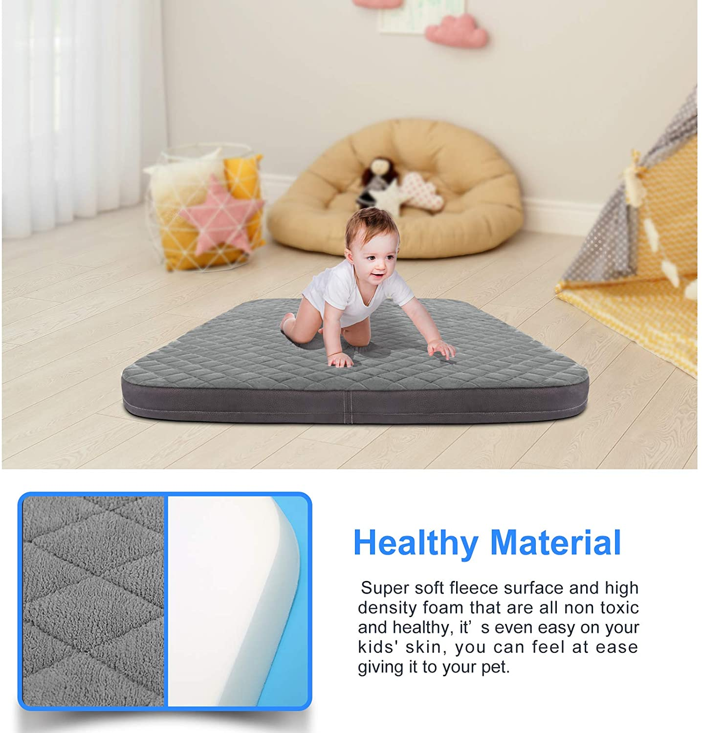 Dog Bed Jumbo Crate Pad Mat Orthopedic Pet Sleeping Beds 39/47 Inch Washable Non Slip Cushion Mattress