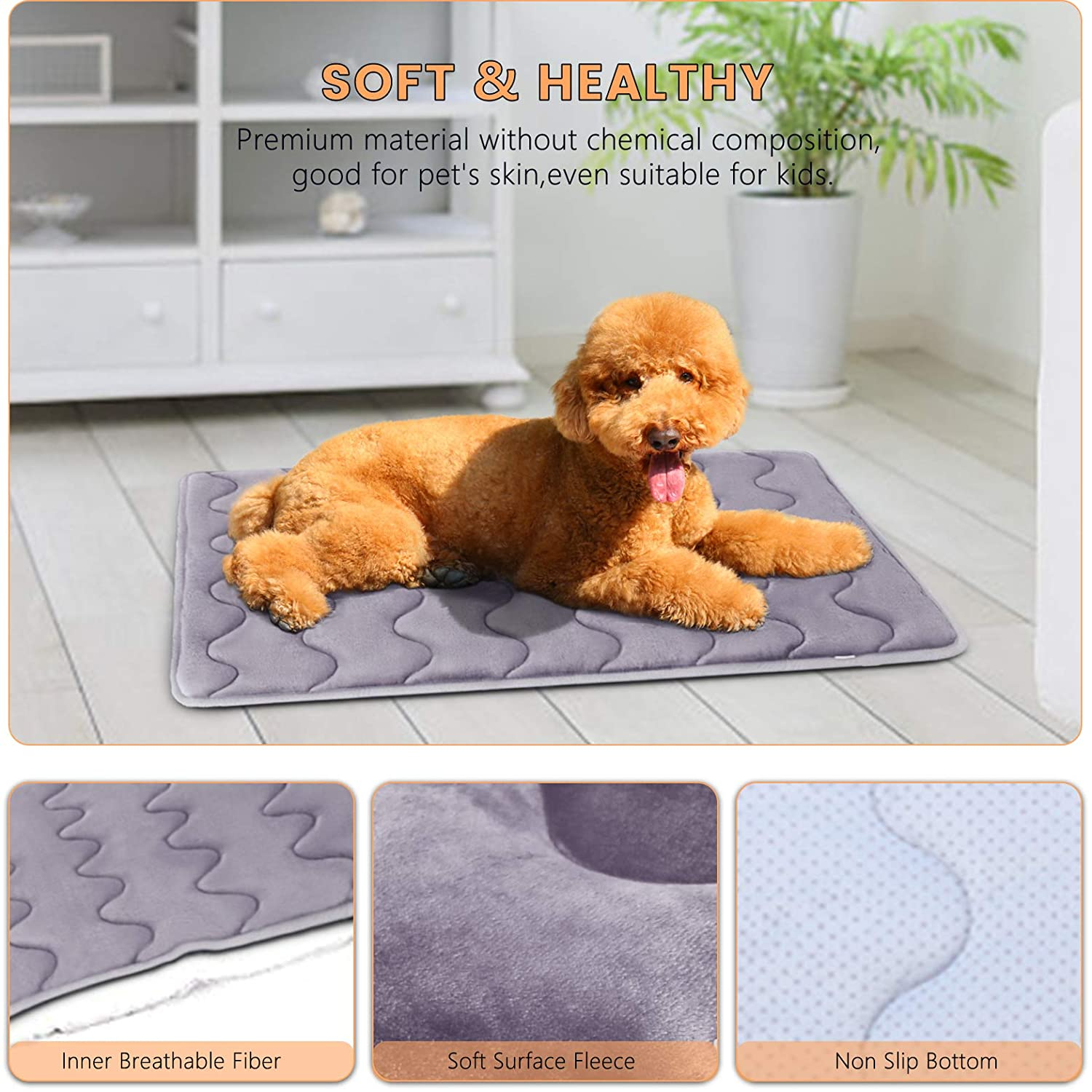 Dog Bed Mat Crate Pad Soft Washable Pet Sleeping Beds Anti Slip Kennel Mattress for Large Medium Small Dogs