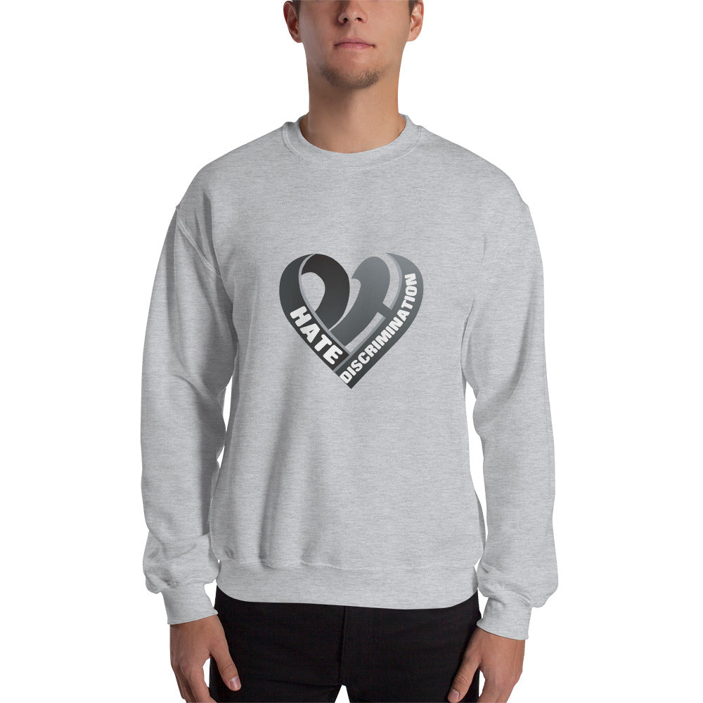 Positive Hate, Hate Discrimination Black Heart mid - Unisex Sweatshirt