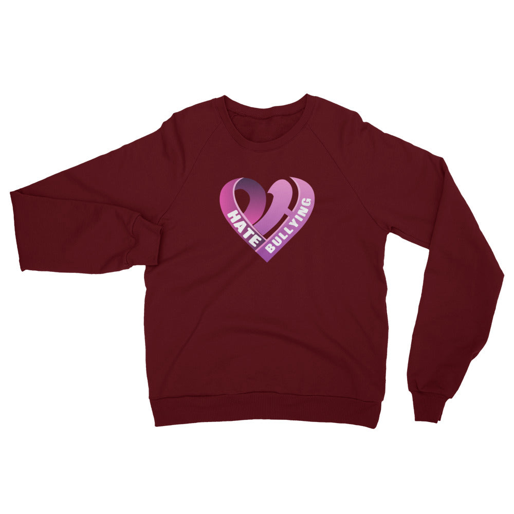 Positive Hate, Hate Bullying Pink Heart Middle - Unisex California Fleece Raglan Sweatshirt