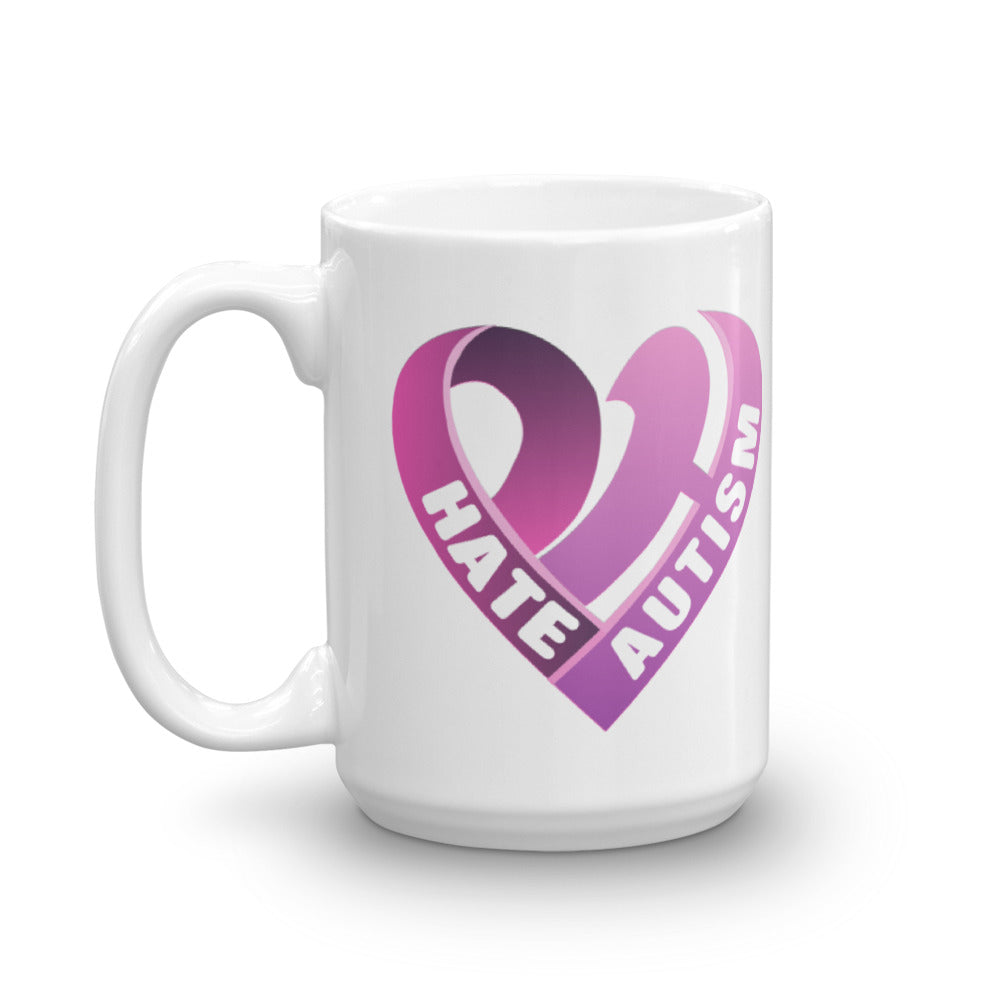 Positive Hate, Hate Autism Pink Heart Side - Mugs