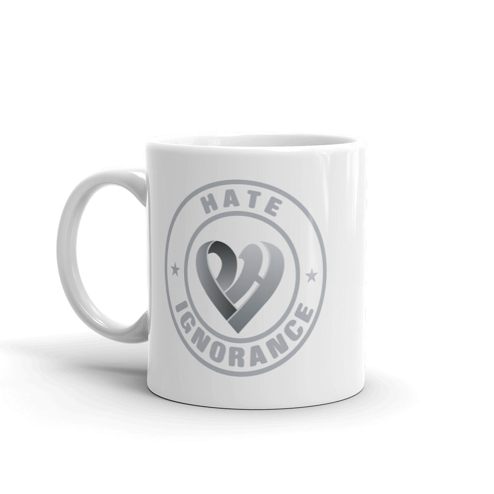 Positive Hate, Hate Ignorance Grey Round - Glossy Mugs