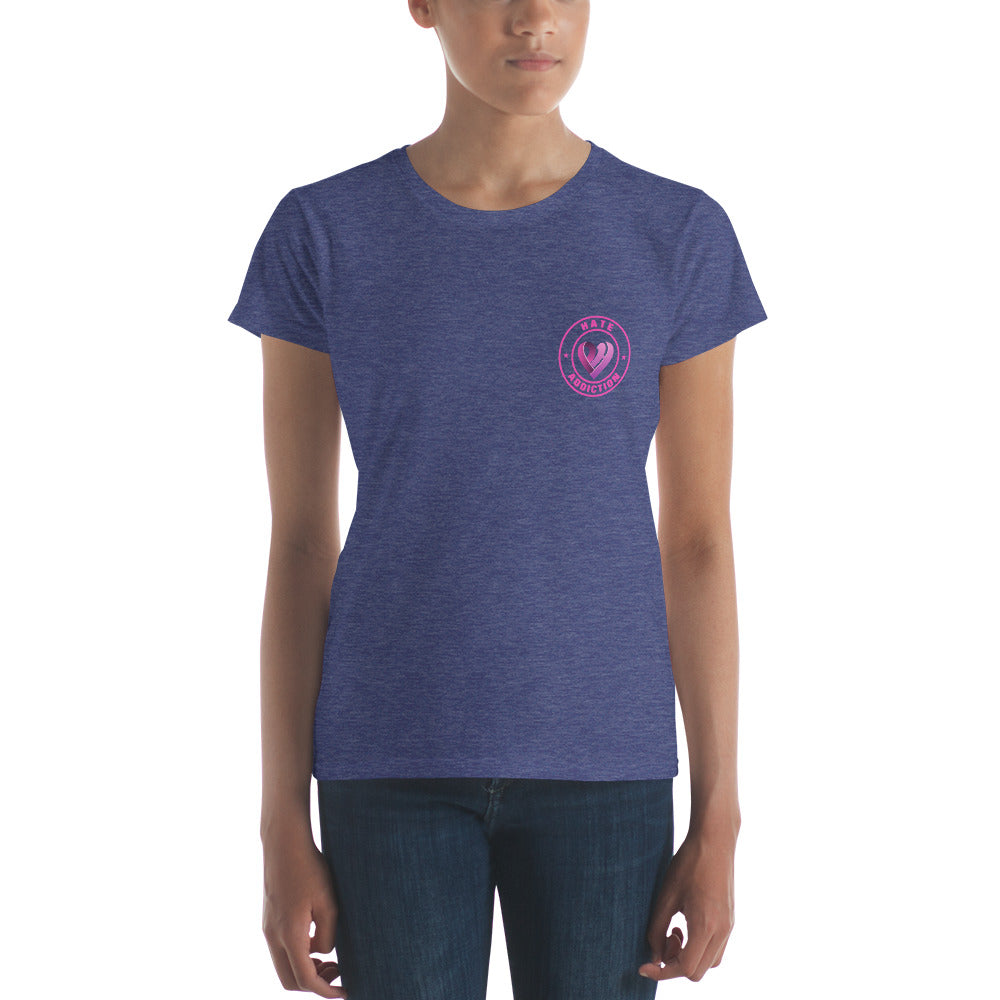 Positive Hate, Hate Addiction Pink Round Side -  Women's short sleeve t-shirt