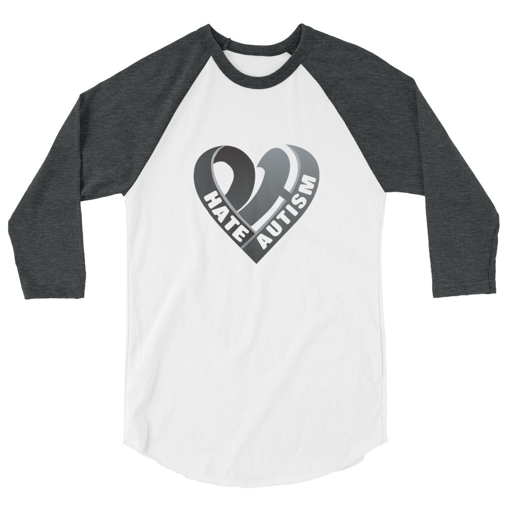 Positive Hate, Hate Autism Black Heart Middle - 3/4 Sleeve Raglan Shirt