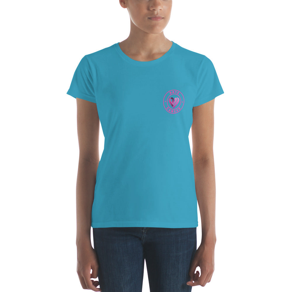 Positive Hate, Hate Cancer Pink Round Side -  Women's short sleeve t-shirt