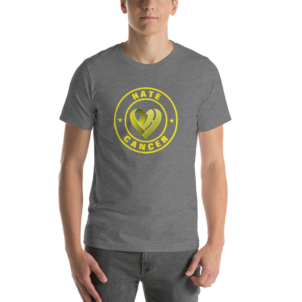 Positive Hate, Hate Cancer Yellow Round Middle - T-shirt