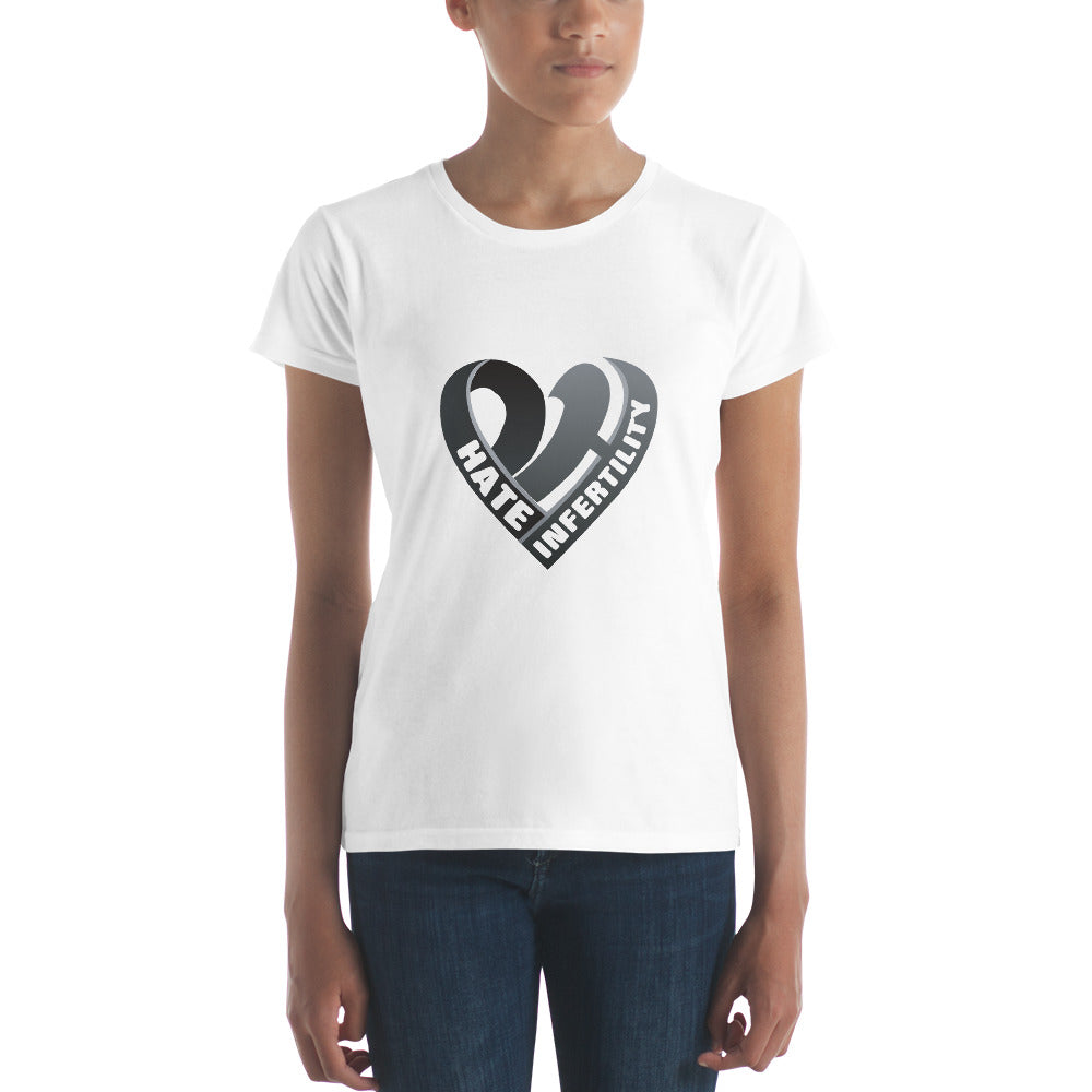 Positive Hate, Hate Infertility Black Heart Middle -  Women's short sleeve t-shirt