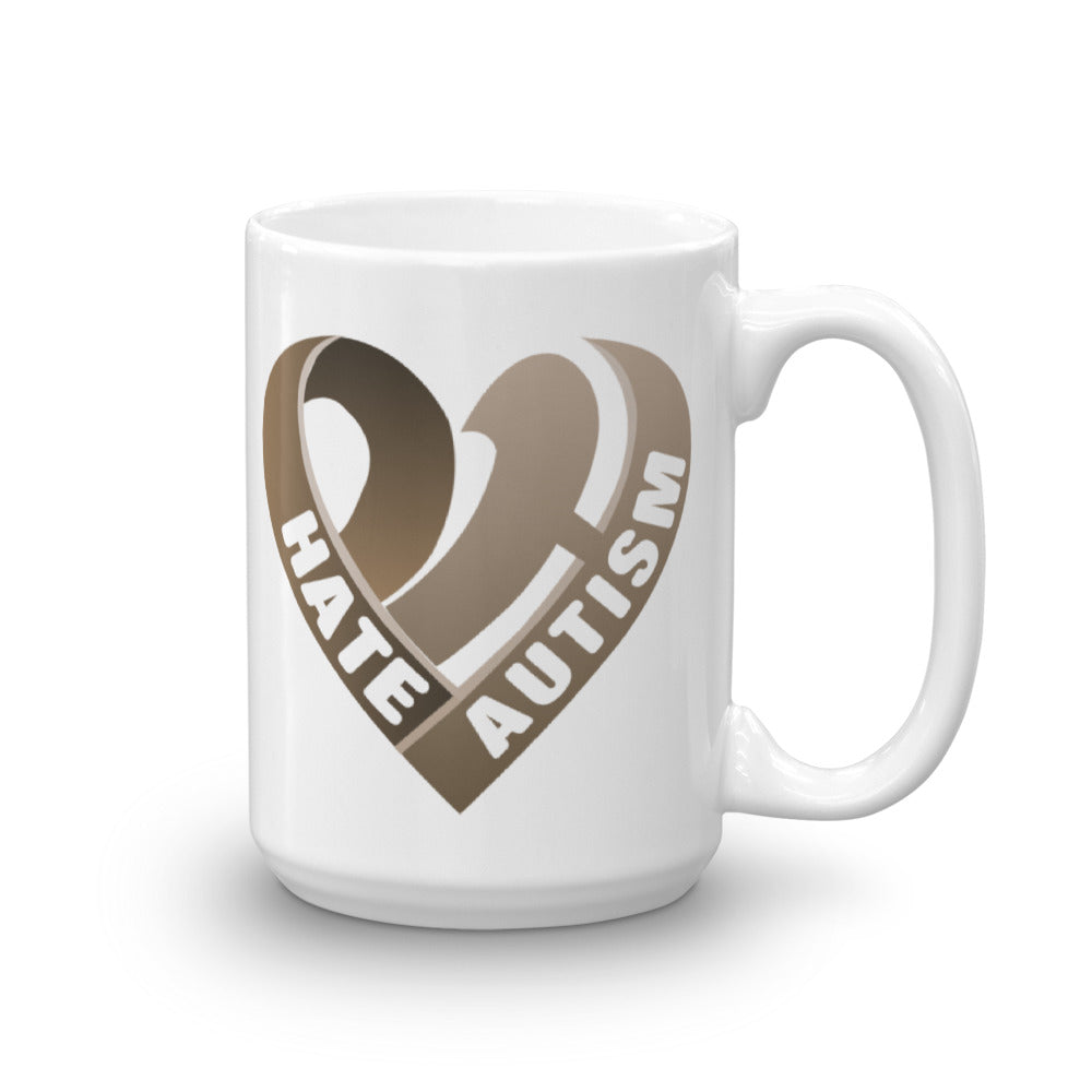 Positive Hate, Hate Autism Brown Heart Side - Mugs