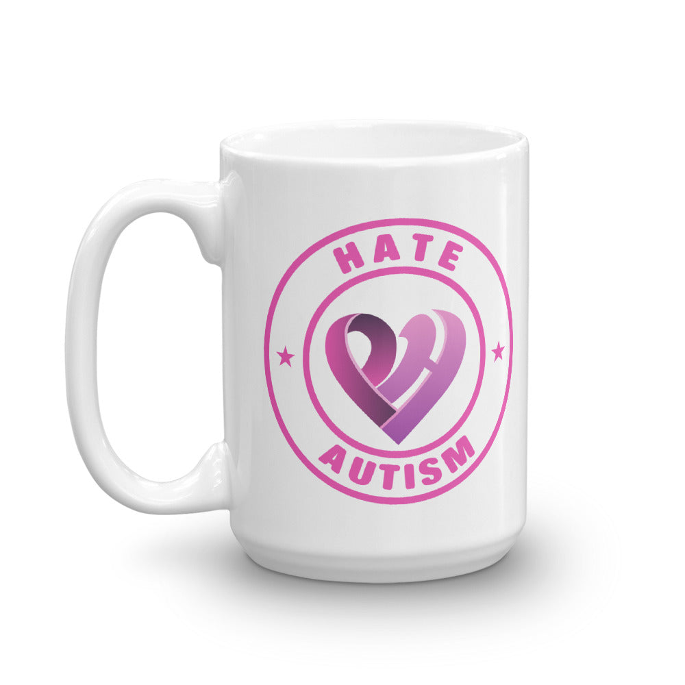 Positive Hate, Hate Autism Pink Round Side - Mugs