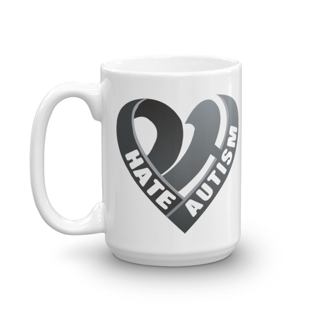 Positive Hate, Hate Autism Black Heart Side - Mugs