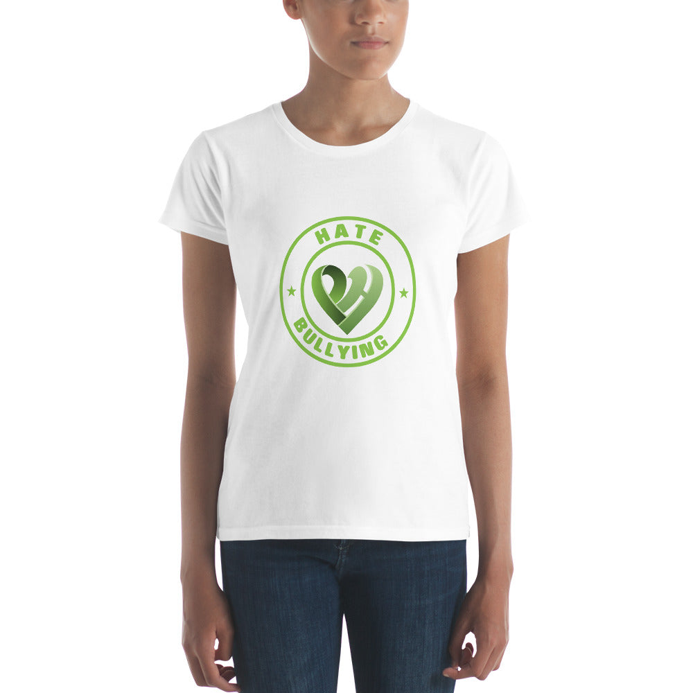 Positive Hate, Hate Bullying Green Round Middle -  Women's short sleeve t-shirt