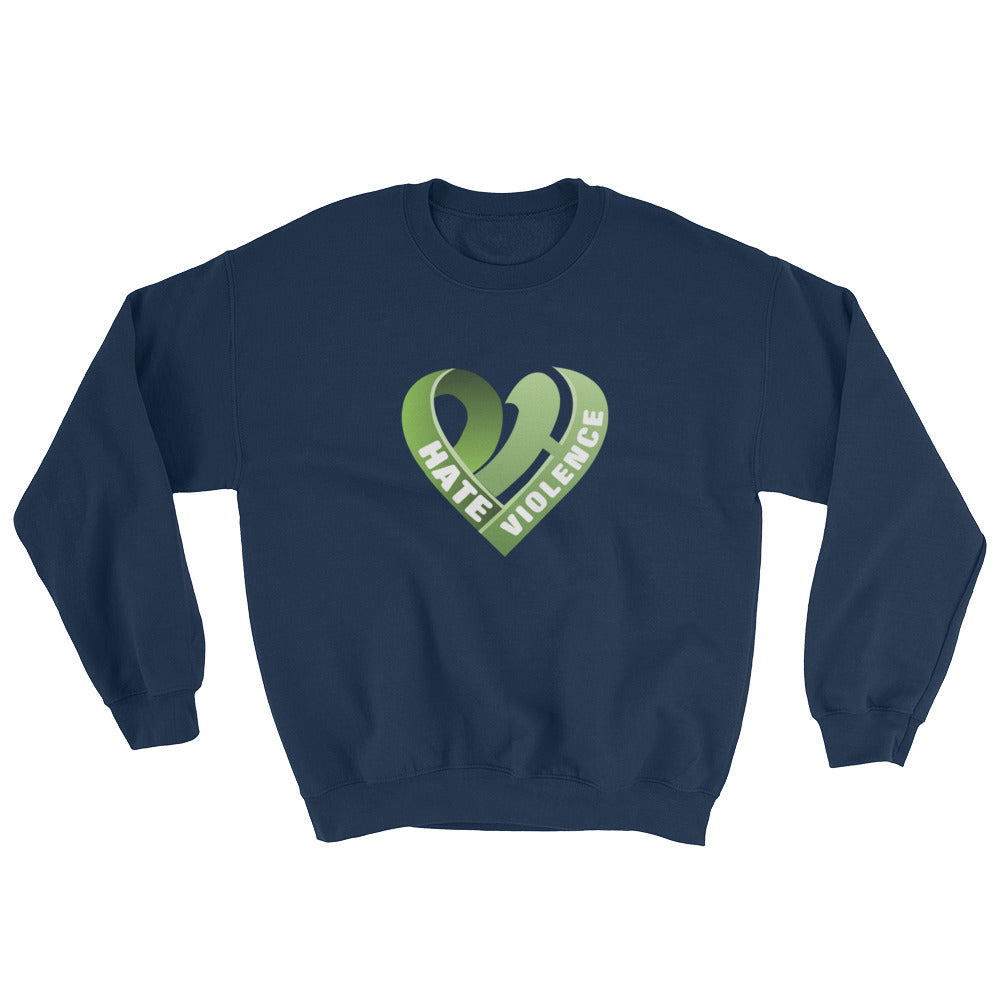 Positive Hate, Hate Violence Green Heart Middle - Unisex Sweatshirts