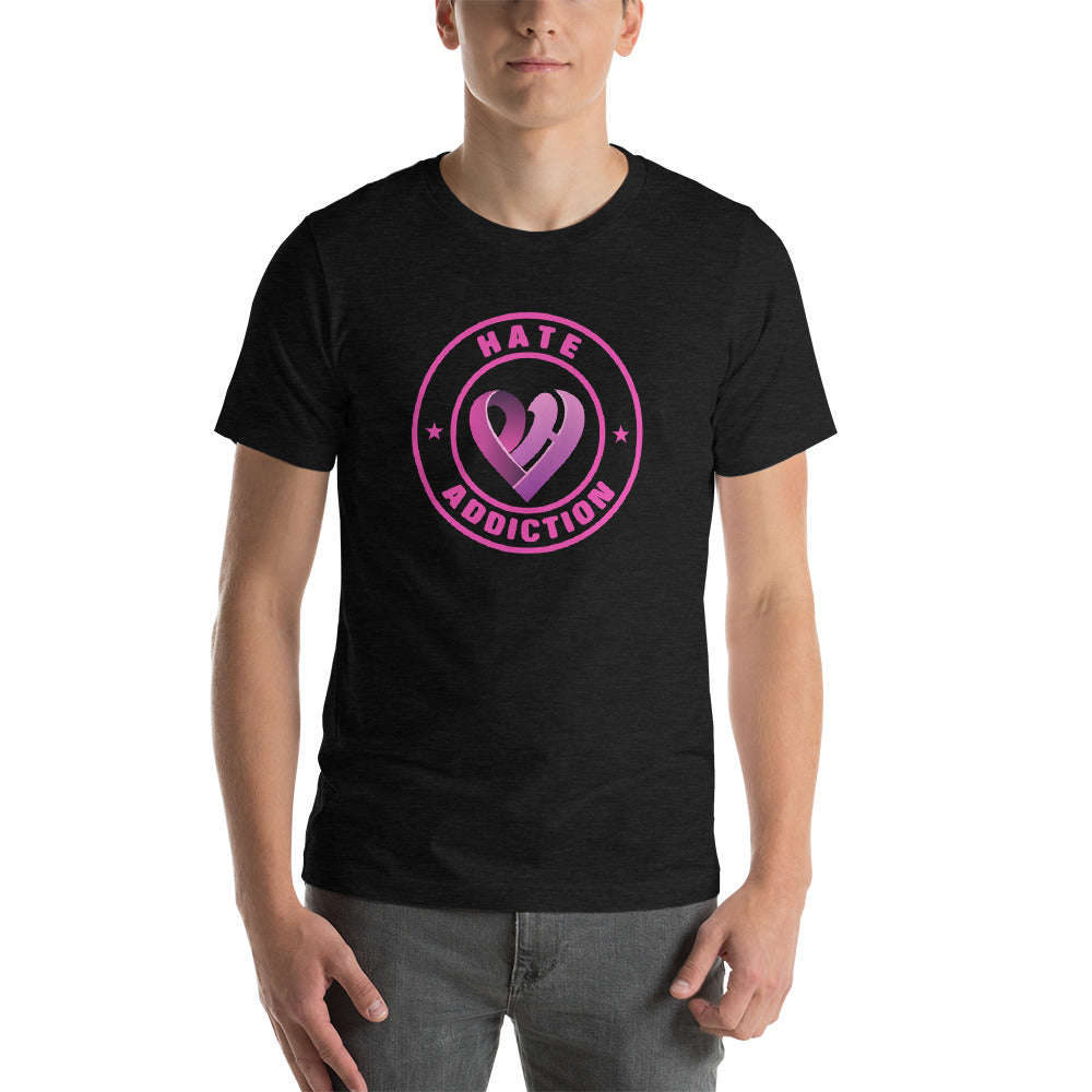Positive Hate, Hate Addiction Pink Round Middle - T-shirt
