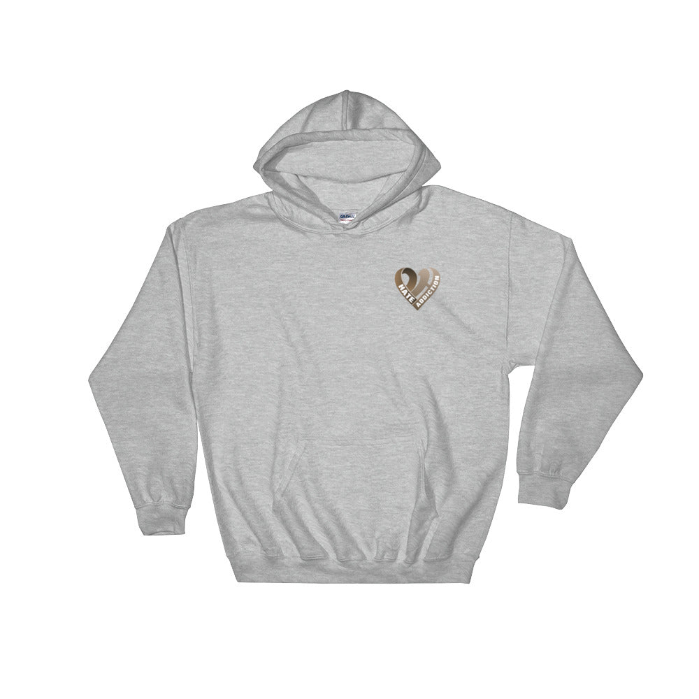 Positive Hate, Hate Addiction Brown Heart Side - Hooded Sweatshirt
