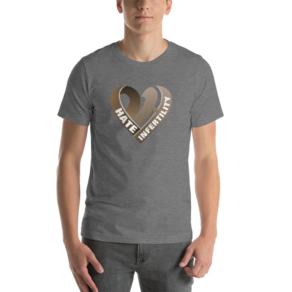 Positive Hate, Hate Infertility Brown Heart Middle - T-shirt