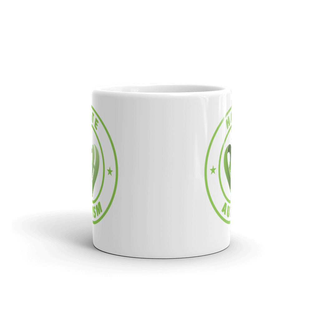 Positive Hate, Hate Autism Green Round Side - Mugs